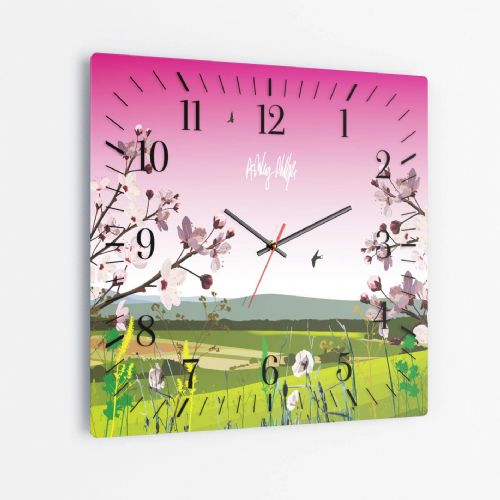 British Countryside Pink - Square Glass Clock